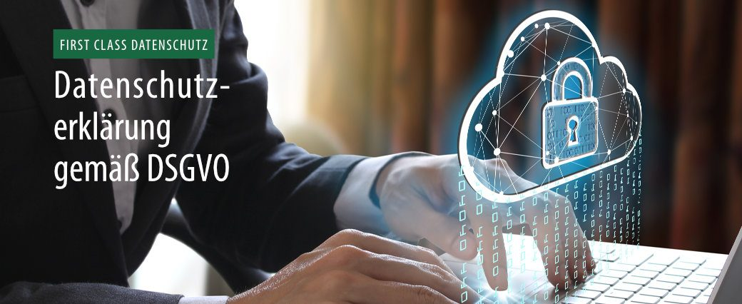 Headerbild mit Text: Datenschutzerklärung gemäß DSGVO