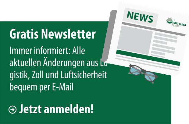 Banner für den First Class Newsletter mit News Icon