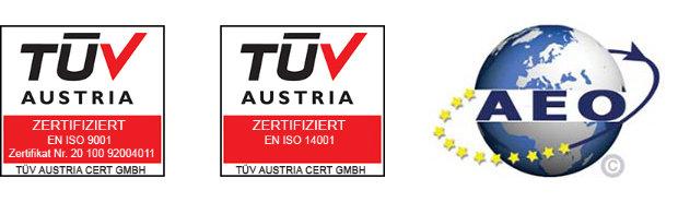 Abbildung der Zertifikate TÜV & AEO